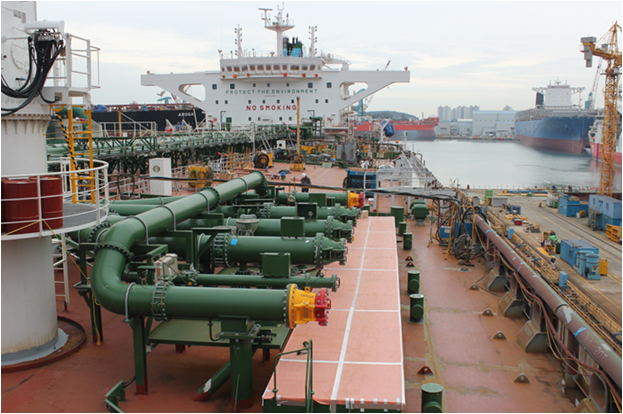 Geometrical inspection of an oil tanker
